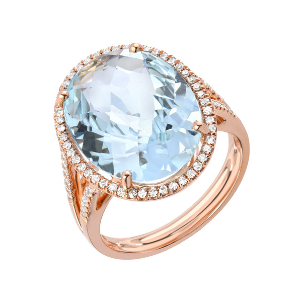 aquamarine and diamond ring in rose gold