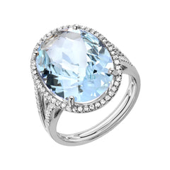 Oval Aquamarine and Diamond Ring - Large