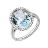 Oval Aquamarine and Diamond Ring - Medium