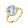 Oval Aquamarine and Diamond Ring - Small