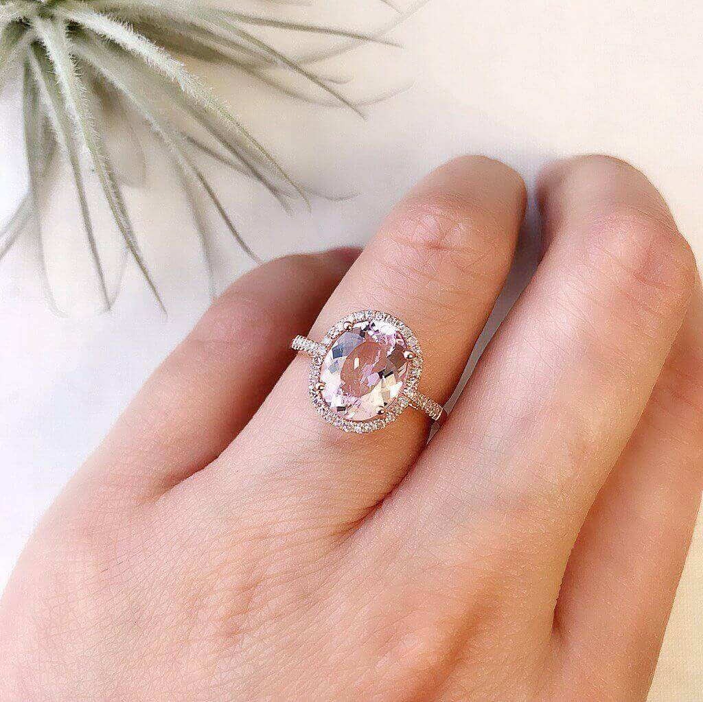 One of a Kind Single Shank Morganite Ring