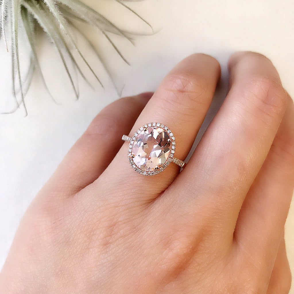 morganite ring  with diamonds in rose gold