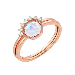 two ring set with rainbow moonstone in rose gold