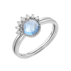 two ring set with London blue topaz in white gold