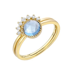 two ring set with London blue topaz in yellow gold