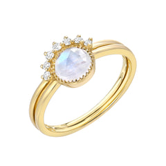 two ring set with rainbow moonstone in yellow gold
