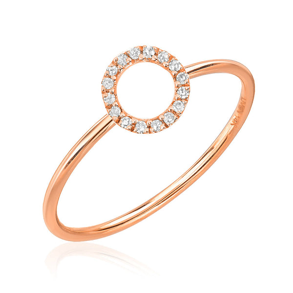 open circle diamond stacker ring in rose gold