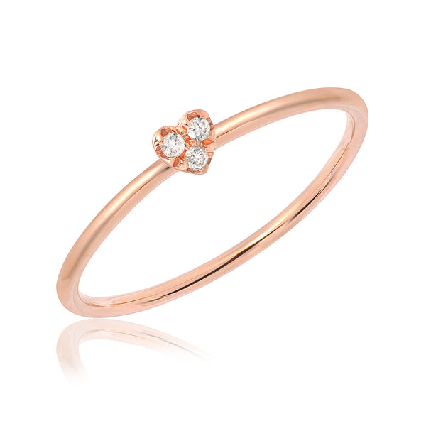 mini heart rose gold band