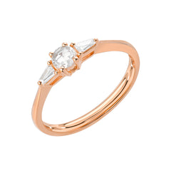 Heirloom Round Rose Cut Band With Tapered Baguette Sides in 14k rose gold