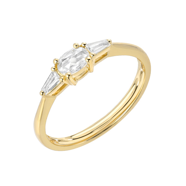 Heirloom Oval Rose Cut Band With Tapered Baguette Sides in 14k yellow gold