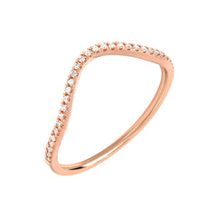 gently curved band made for stacking, with diamonds in 14k gold