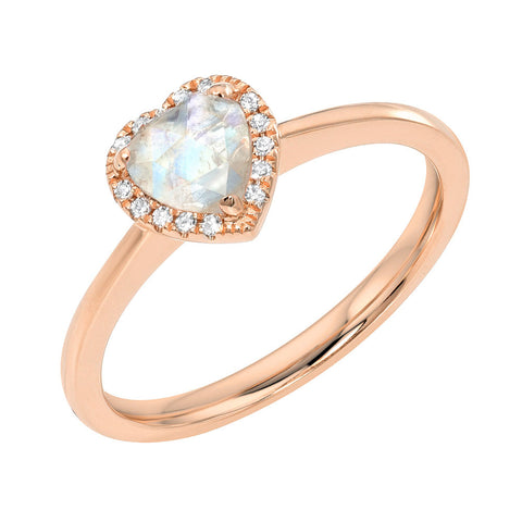 Mini Heart Rainbow Moonstone Ring