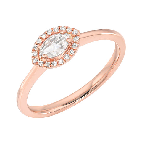 Rose Cut Marquise Diamond Halo Band