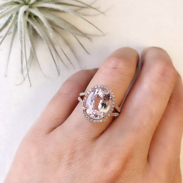 One of a Kind Split Shank Morganite Ring