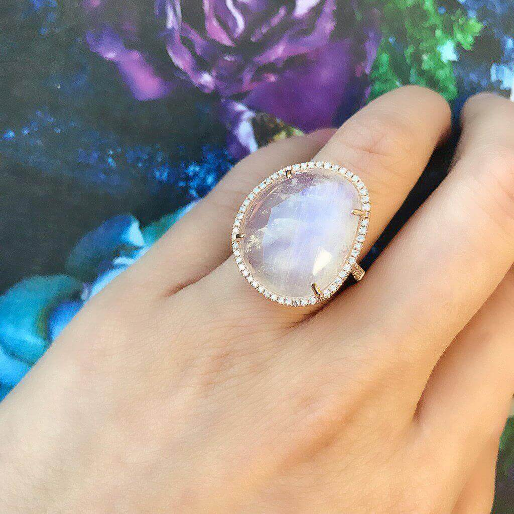One of a Kind Organic Shaped Rainbow Moonstone Ring
