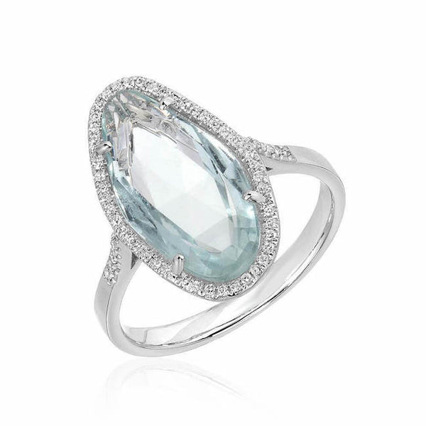 One of a kind aquamarine ring in white gold
