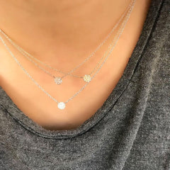 Petite pave disc necklace