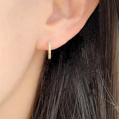 huggie hoop earrings with petite baguette and round diamonds