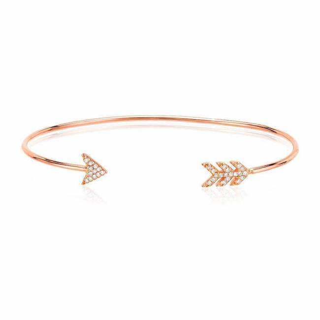 arrow cuff with diamonds in rose gold