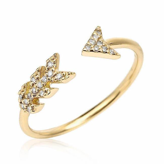 arrow ring with diamonds in yellow gold