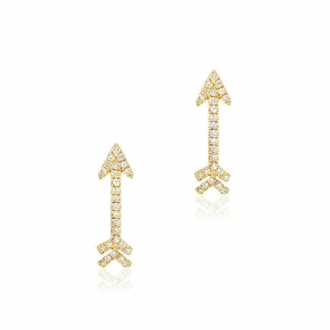 arrow post earrings with diamonds in yellow gold