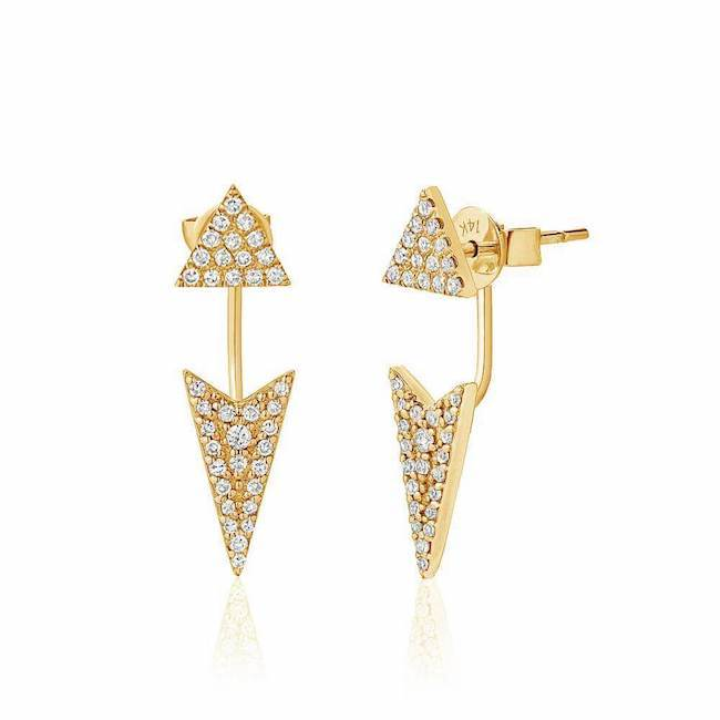 triangle and arrowhead ear jackets with diamonds in yellow gold