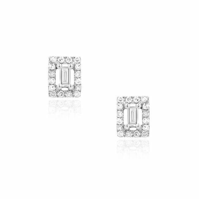 baguette with halo earrings in white gold