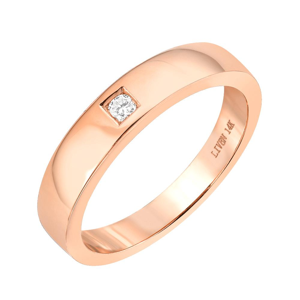 wide high polish 14k gold band with solitaire diamond