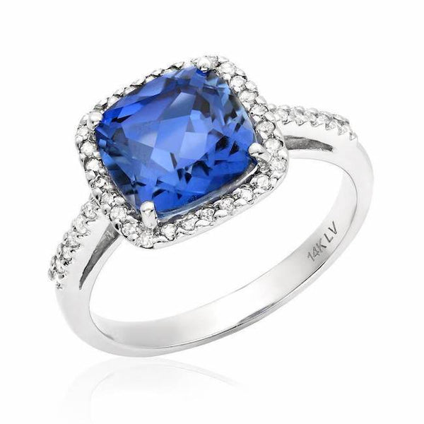 cushion cut blue corundum ring in white gold