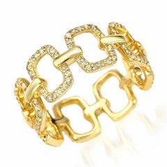 emerlad chain link eternity band in yellow gold
