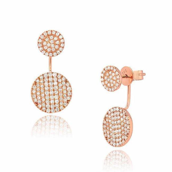 double circle jacket earrings in rose gold