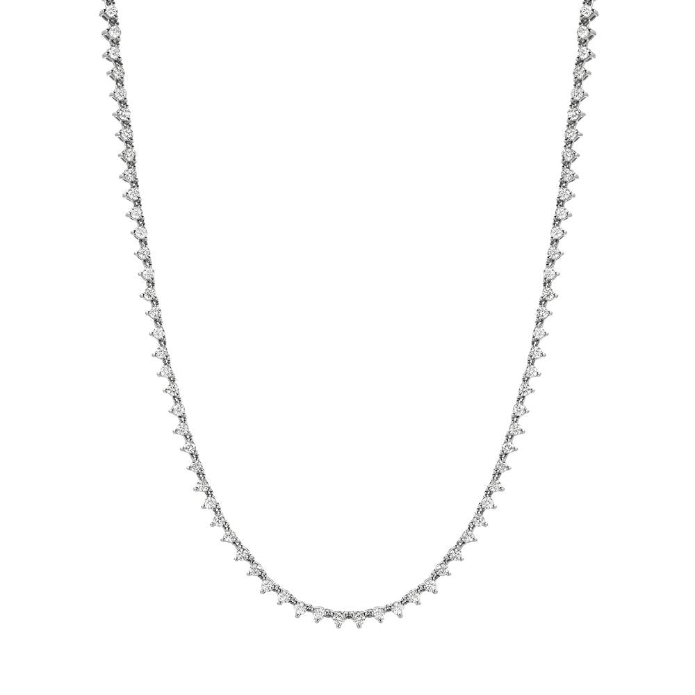 tennis necklace in diamonds and 14k gold