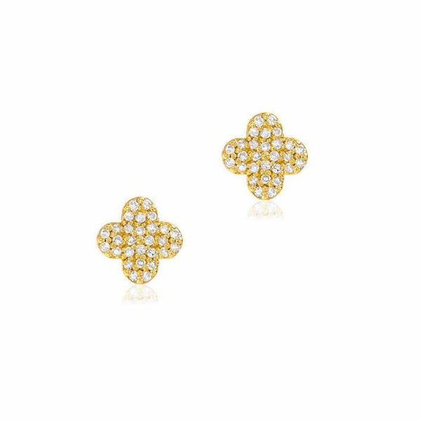 Clover Pave Post Earrings