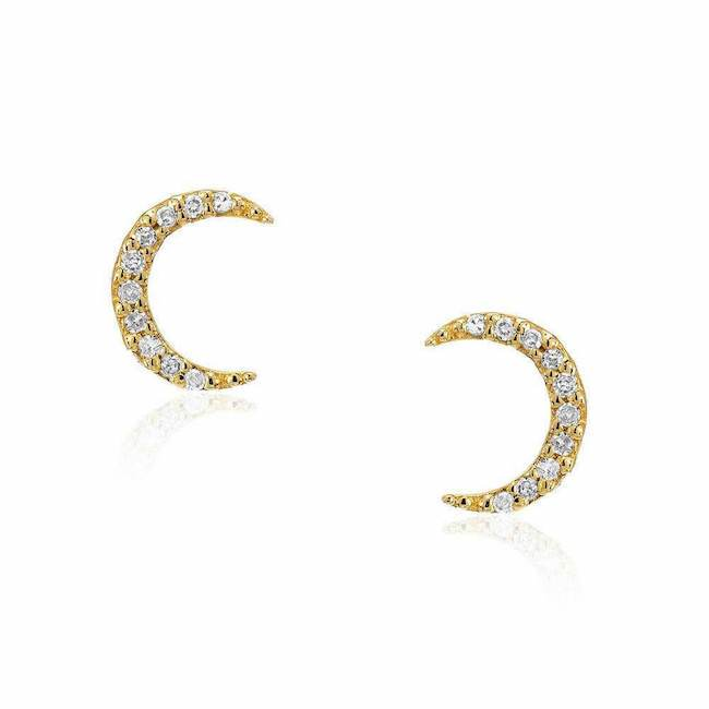 crescent moon post earrings in yellow gold