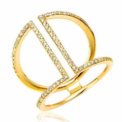 cuff ring with diamonds in yellow gold
