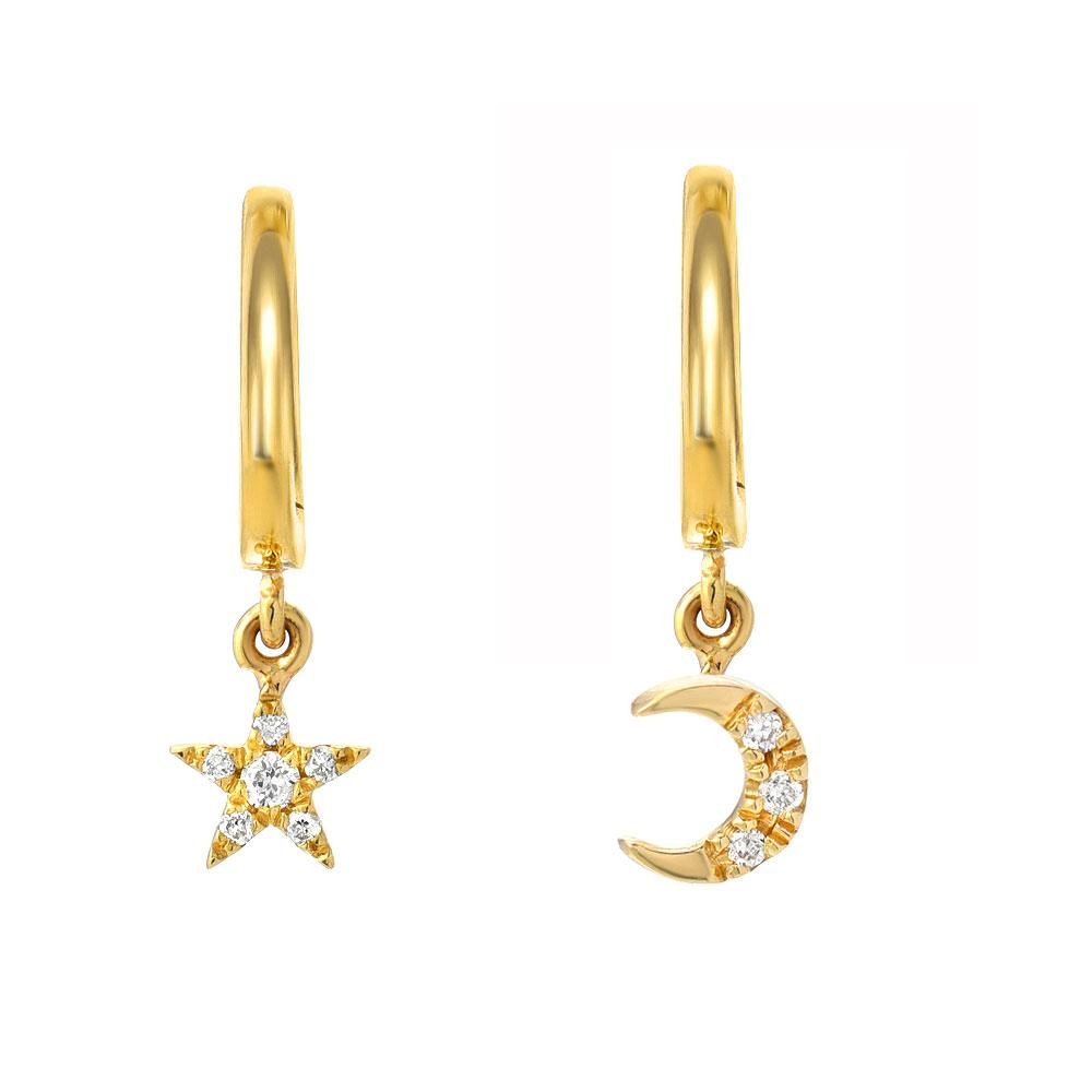 dangling diamond moon and star on petite gold huggies