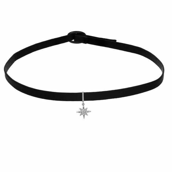 starburst dangle choker in white gold