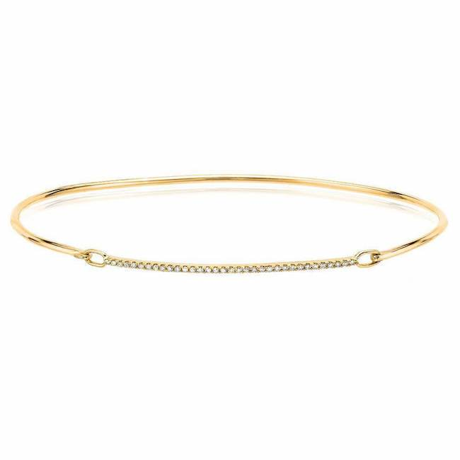 14k gold diamond bar bangle in yellow