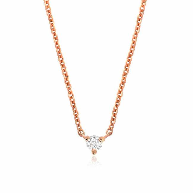 petite prong set diamond necklace in rose gold