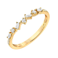 jumble baguette and round diamond halfway band in 14k gold