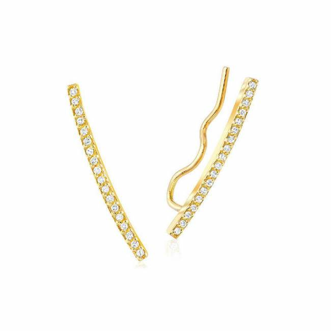 diamond ear climbers in yellow gold