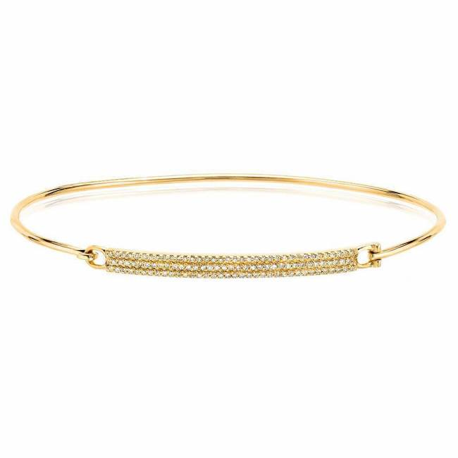 Diamond Pave Bar Bangle in Yellow Gold