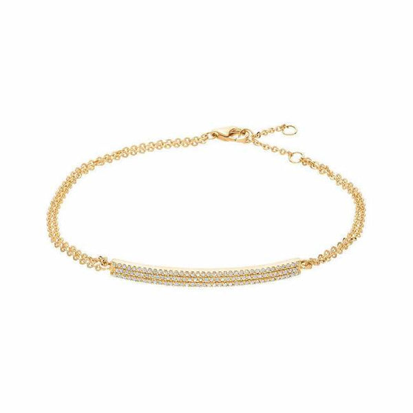 diamond pave bar bracelet in yellow gold
