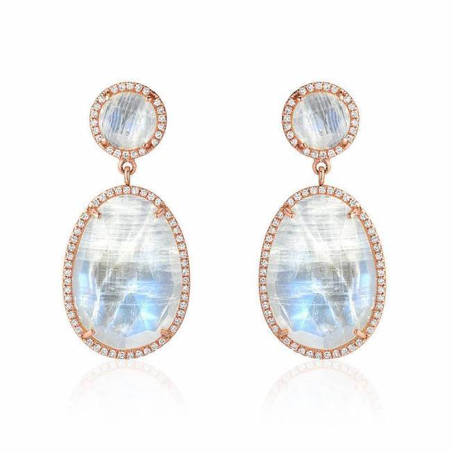 double drop rainbow moonstone and diamond post earrings in rose gold