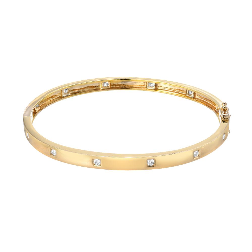 14k yellow gold high polish bangle with diamonds