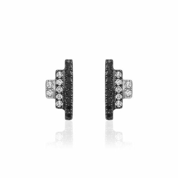 Ombre step post earrings with black and white diamonds in white gold and black rhodium