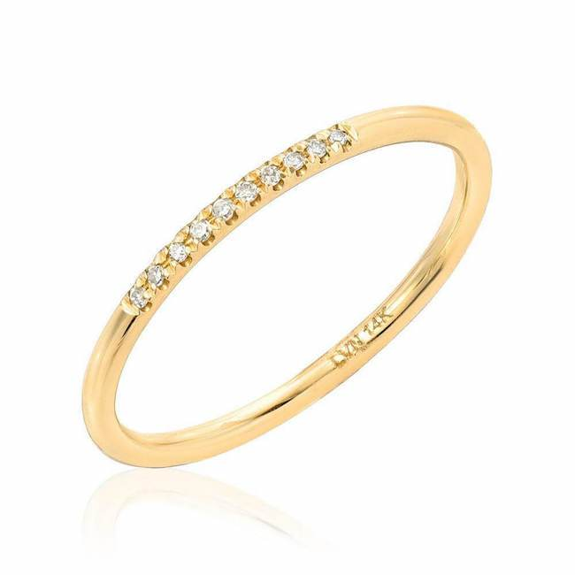 diamond top band in yellow gold
