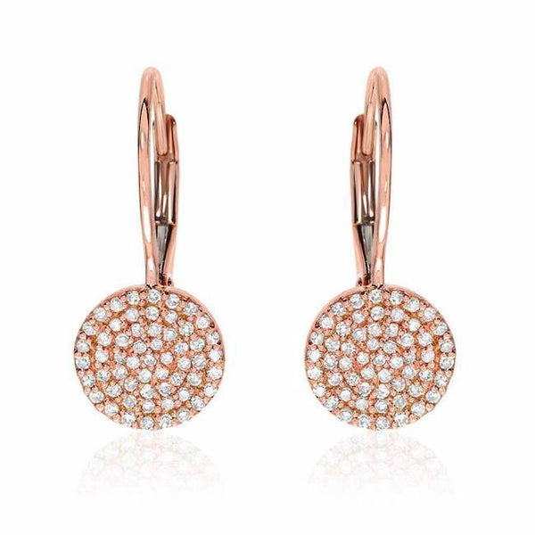 Pave disc earrings with leverbacks in rose gold