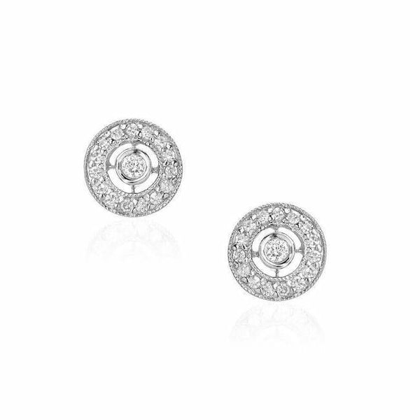 Dot post earrings with diamonds in white gold