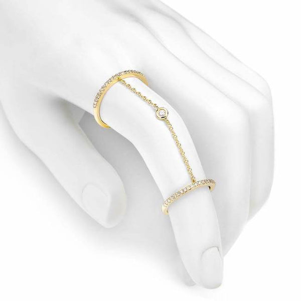double band chain ring with diamonds in yellow gold